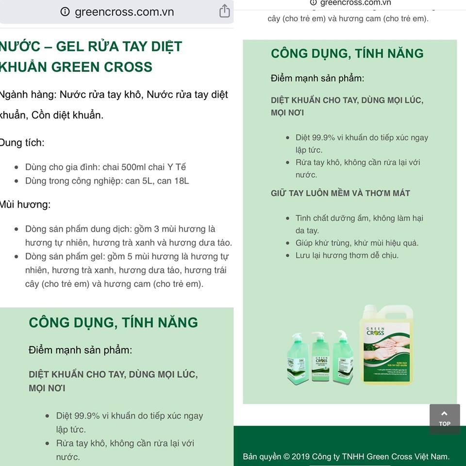 Công dụng diệt 99,9% vi khuẩn được giới thiệu trên website của công ty Green Cross.