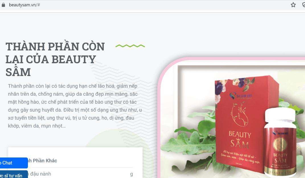 Sản phẩm BeautySam đang được quảng cáo như thuốc điều trị bệnh