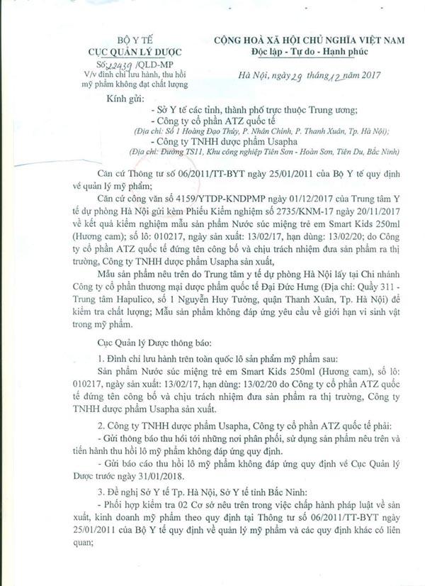 Cục Quản lý Dược về việc đình chỉ lưu hành và thu hồi sản phẩm mỹ phẩm Nước súc miệng trẻ em Smart Kids 250 ml (Hương cam)