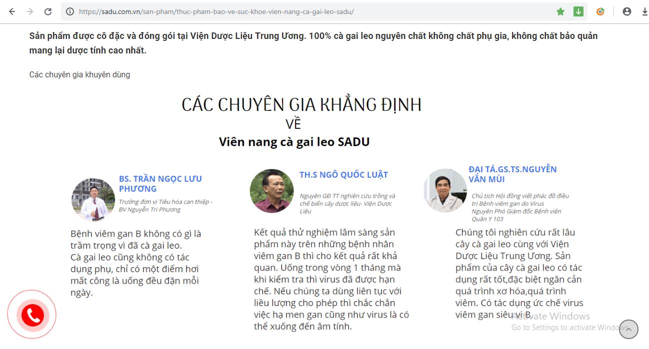 Công ty Cổ phần nông nghiệp công nghệ cao Thăng Long ngang nhiên lấy tên tuổi các chuyên gia, bác sĩ và cơ sở y tế khác nhằm PR cho sản phẩm viên nang cà gai leo.