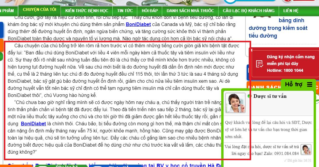 Dưới dạng chia sẻ của người bệnh website đã lồng các thông tin quảng cáo sản phẩm BoniDiabet. Ảnh chụp màn hình.
