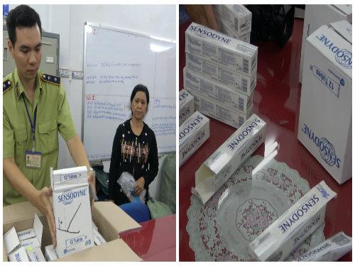 Lực lượng chức năng tiến hành thu giữ lượng lớn kem đánh răng giả nhãn hiệu Sensodyne. Ảnh: Quyên Lưu/ Tổng Cục QLTT