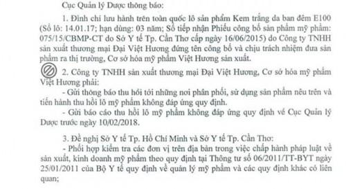 Đình chỉ lưu hành, thu hồi Kem trắng da ban đêm E100 không đạt chất lượng của công ty Đại Việt Hương