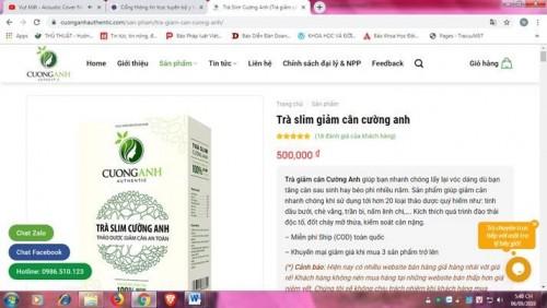 Cục An toàn thực phẩm khuyến cáo người dân không mua sản phẩm Trà Slim và Trà Thảo Mộc Cường Anh trên một số website