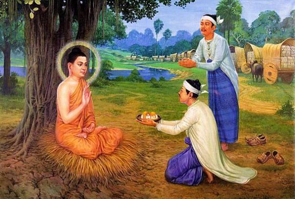cúng dường hoa lên Đức Phật