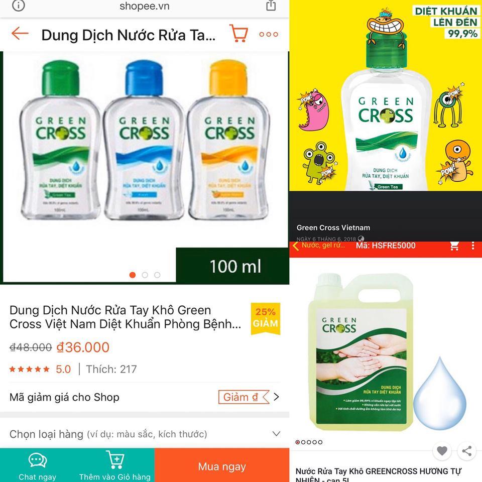 Dung dịch rửa tay Green Cross quảng cáo sai công dụng?