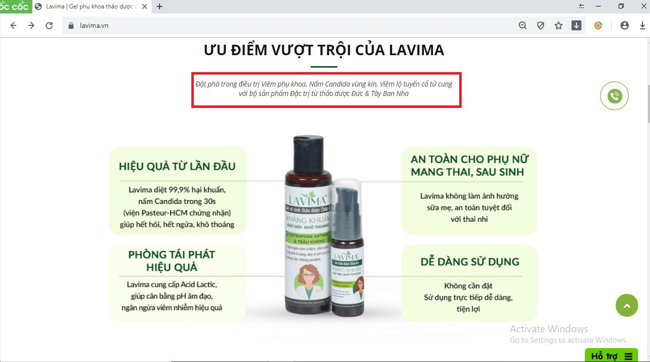 Đánh lừa người tiêu dùng, bộ sản phẩm Lavima quảng cáo như thuốc