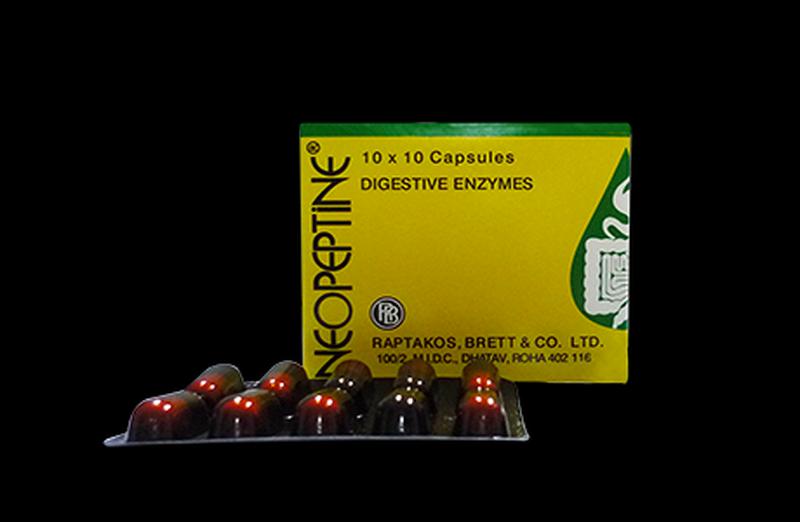 Thuốc viên nang cứng Neopeptine (Anpha amylase 100mg, Papain 100mg, Simethicone 30mg)