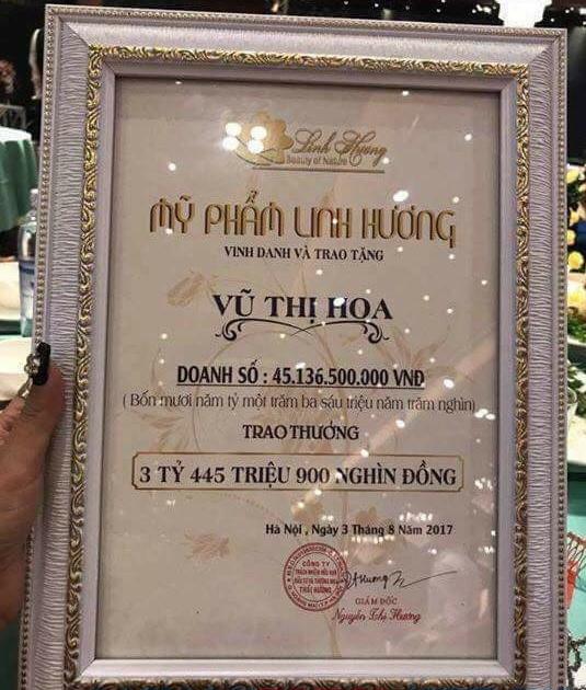 Tấm bằng khen của mỹ phẩm Linh Hương đối với CTV mà dư luận cho rằng chỉ là sản phẩm của Photoshop(!?)
